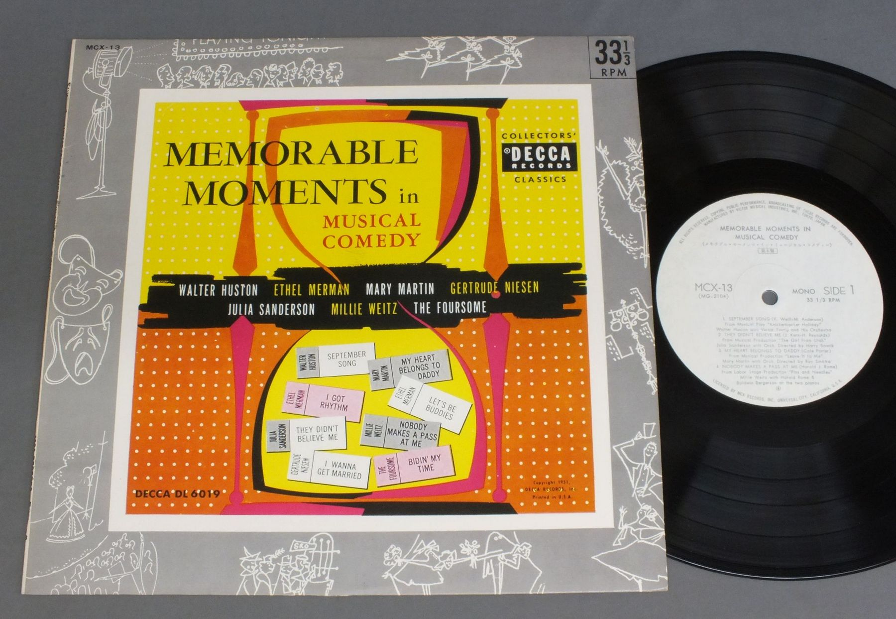 WALETER HUSTON ETC - MEMORABLE MOMENTS IN MUSICAL COMEDY - 25 cm